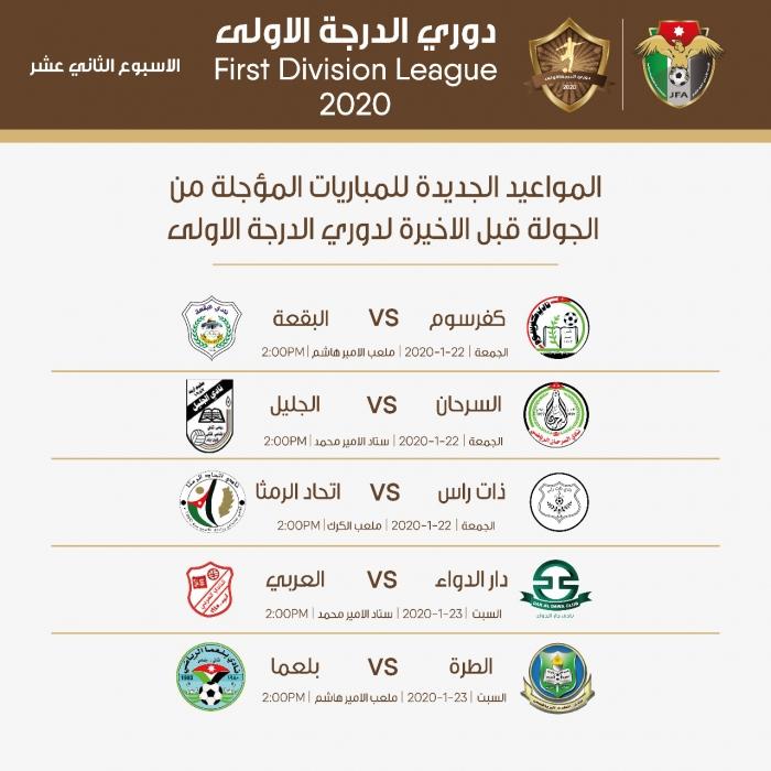 تأجيل مباريات الجولة قبل الأخيرة بدوري الدرجة الأولى