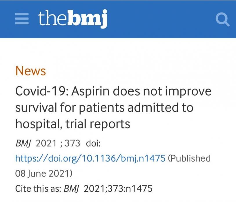الأسبرين لا يفيد لمرضى كورونا