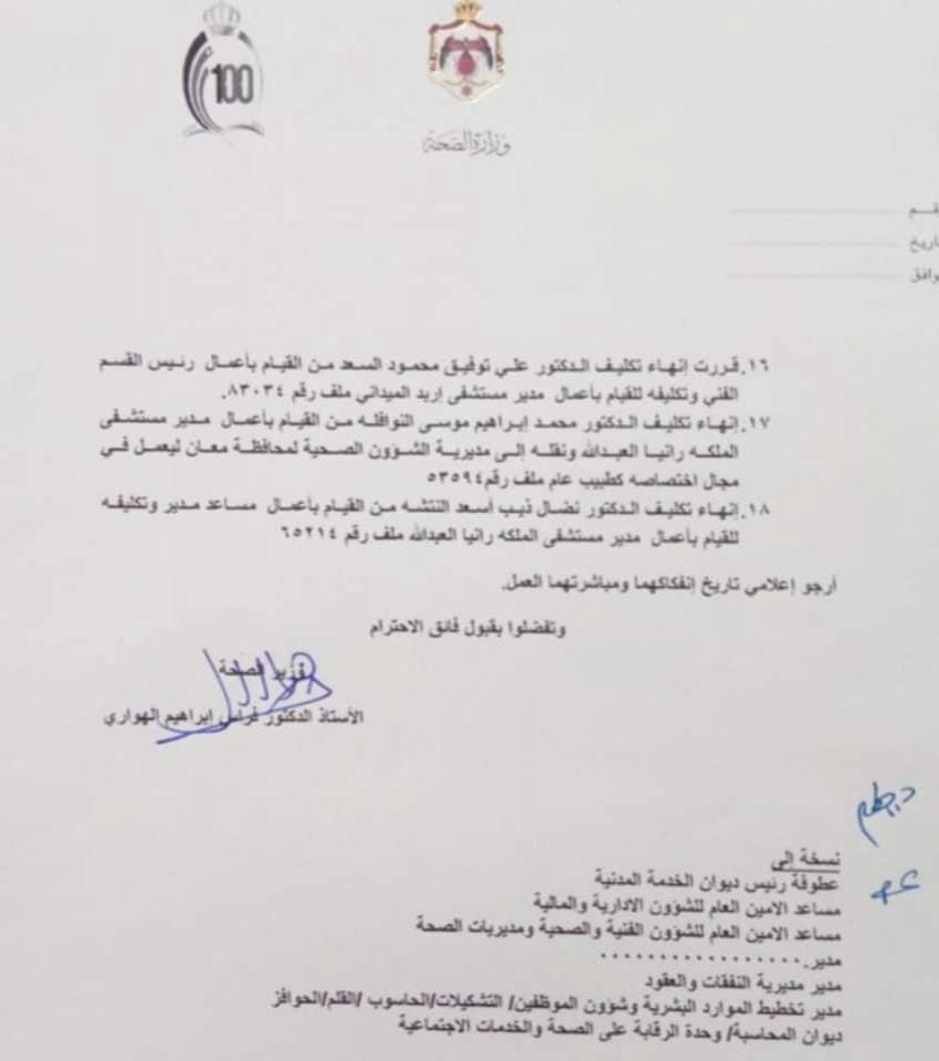 تنقلات وتشكيلات في الصحة .. اقالة مدراء ورؤساء أقسام بمستشفيات البشير (أسماء)