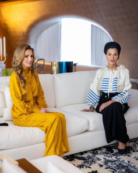 جلالة الملكة رانيا العبدالله تلتقي صاحبة السمو الشيخة موزا بنت ناصر